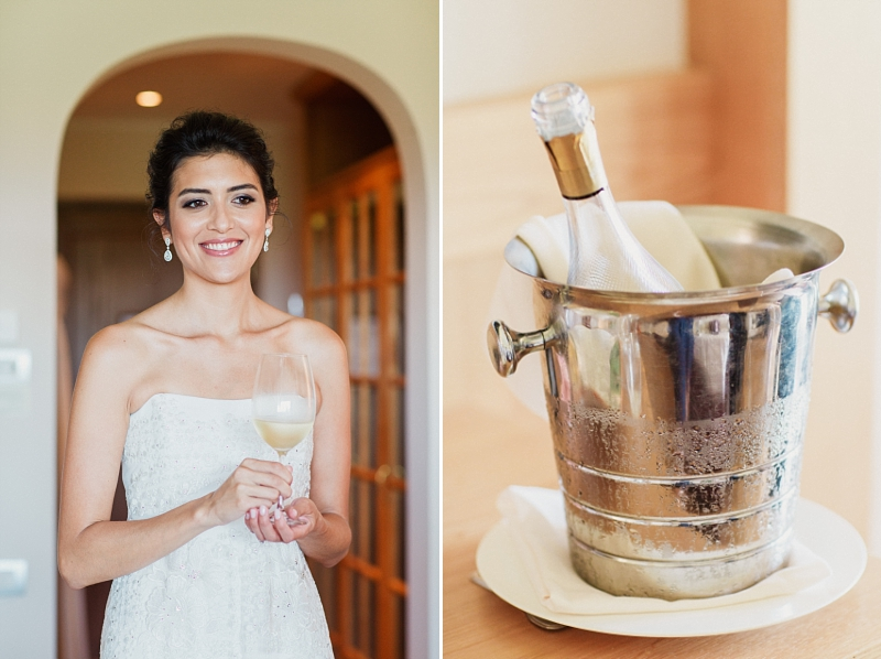 bride with glass of champagne at adler resort tuscany