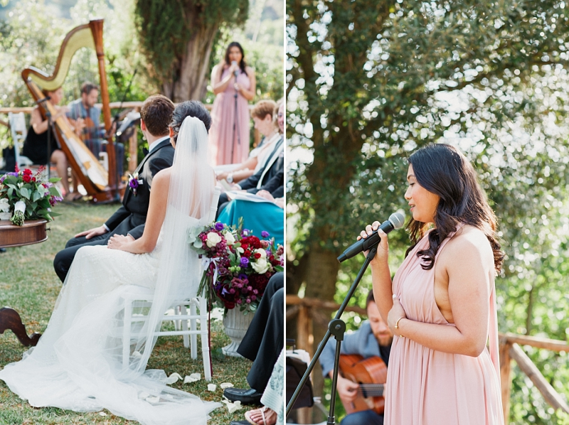 singer at outdoor wedding ceremony in tuscany