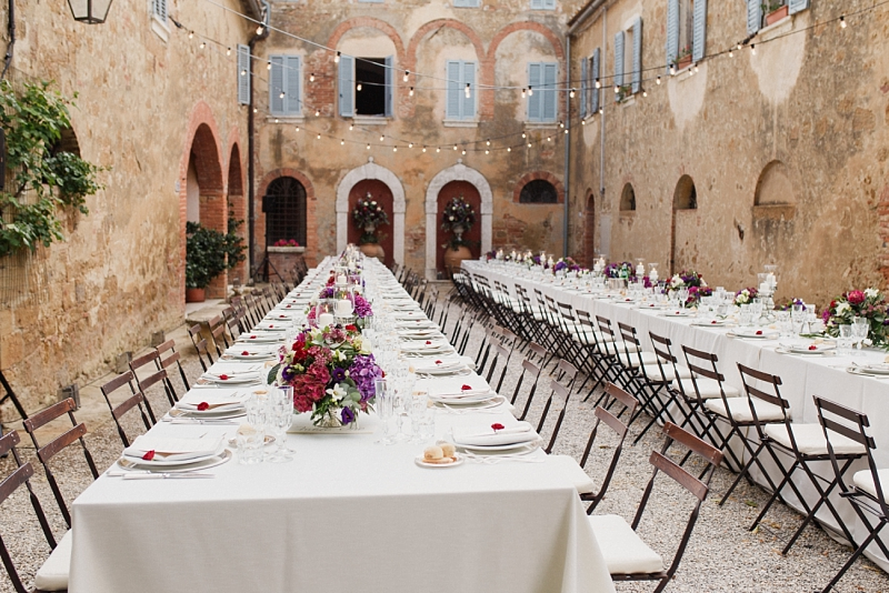 wedding dinner setting at borgo santambrogio