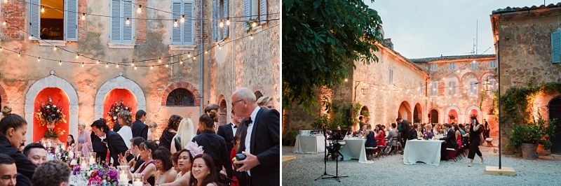 tuscan wedding reception in val d'orcia